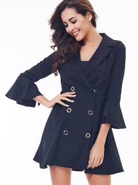 Ericdress Slim Double-Breasted A-Line Coat