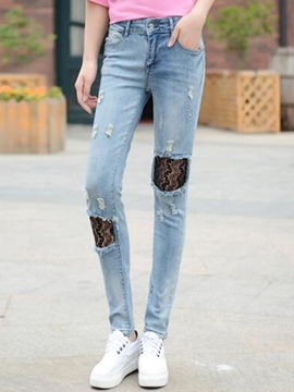 Ericdress Unique Hollow Lace Patchwork Jeans