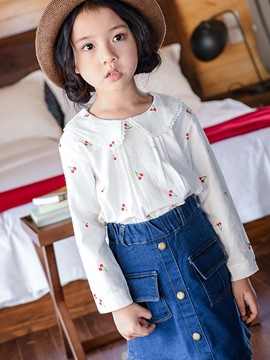 Ericdress Peter Pan Collar Denim Button Pockets Two-Piece Girls Outfit