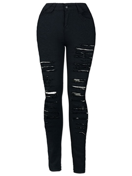Ericdress Ripped Worn-Out Black Jeans