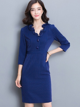 Ericdress Stripe Patchwork Three-Quarter Sleeve Bodycon Dress