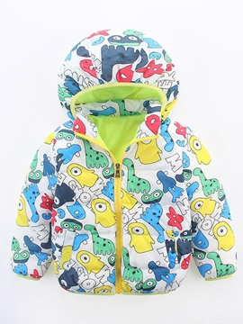 Ericdress Mixed-Print?Cartoon Hooded Down Jacket Girls Outerwear