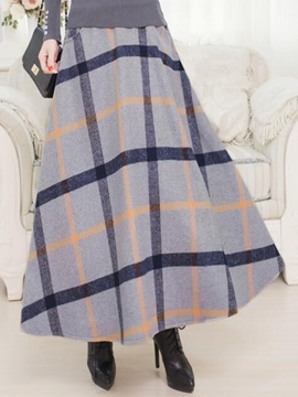 Ericdress Vintage Plaid Maxi Skirt