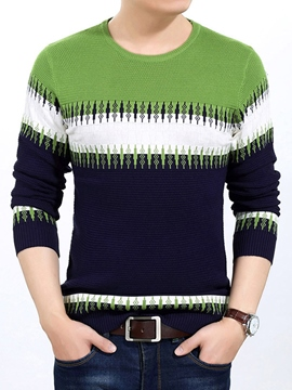 Ericdress Color Block Slim Pullover Men's Sweater