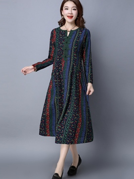 Ericdress Floral Print Ethnic Long Sleeve Loose Maxi Dress
