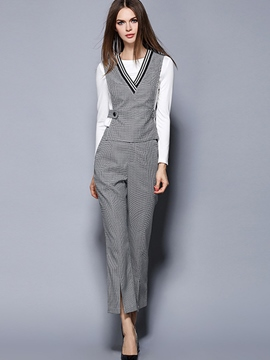 Ericdress Fashion Plaid Three-Piece Suit