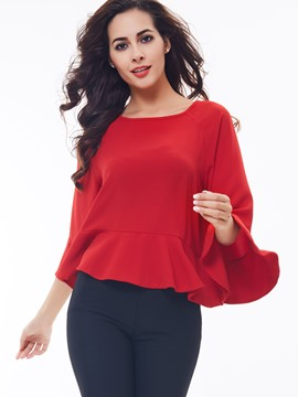 Ericdress Red Petal Sleeve Pelplum Blouse