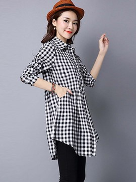 Ericdress Single-Breasted Pleated Blouse