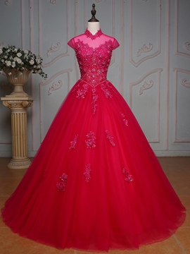 Ericdress High Neck Ball Gown Cap Sleeves Appliques Beaded Crystal Long Quinceanera Dress