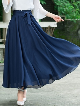 Ericdress Pleated Bowknot Usual Skirt