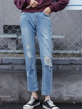Ericdress Solid Color Straight Hole Jeans