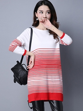 Ericdress Stripe Round Neck Sweater Straight Dress