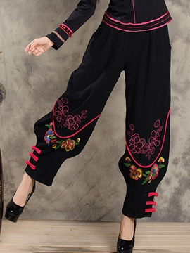 Ericdress Chinese Ethnic Embroidery Pants