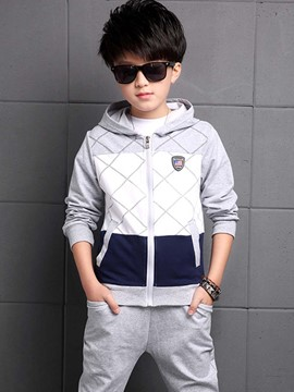 Ericdress Patchwork Grid Hooded Two-Piece Boys Outfit