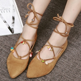 Ericdress Beads Point Toe Lace up Flats