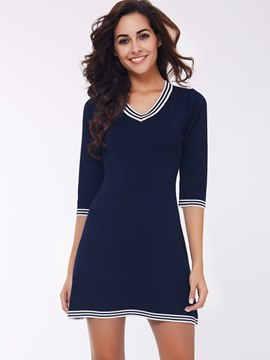 Ericdress Stripe Patchwork V-Neck Half Sleeve Sweater Dress