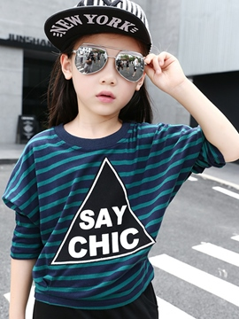 Ericdress Cotton Strip Geometrical Printed Left Shoulder Sleeve Girls Top