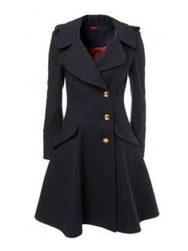 Ericdress Slim Asymmetric Button Coat
