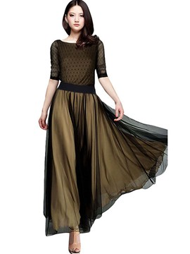 Ericdress Patchwork Three-Quarter Sleeve Expansion Maxi Dress