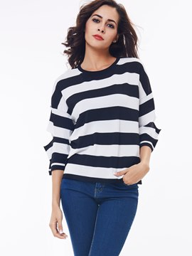 Ericdress Stripped Casual Ripped Knitwear