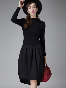 Ericdress Solid Color Knitted Patchwork Pleated Casual Dress
