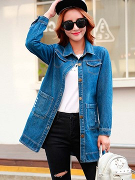 Ericdress Straight Letters Casual Denim Outerwear
