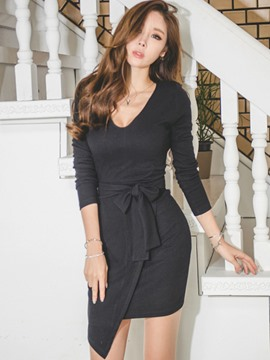 Ericdress V-Neck Lac-Up Asymmetric Bodycon Dress