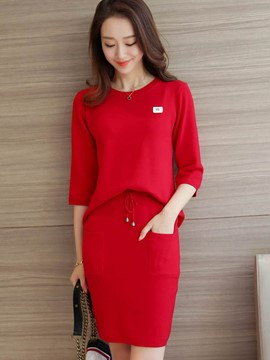 Ericdress Loose Solid Color Knitwear Suit