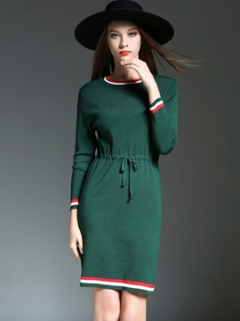 Ericdress Stripe Lace-Up Round Neck Sweater Dress