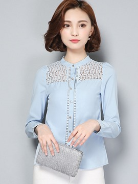 Ericdress Solid Color Slim Hollow Patchwork Blouse