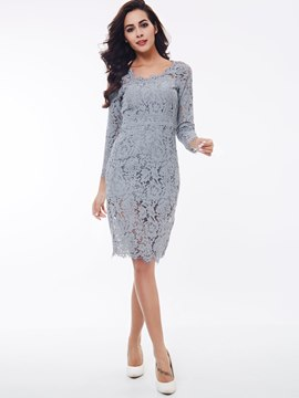 Ericdress Solid Color Nine Points Sleeve Lace Dress