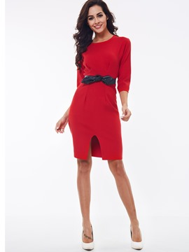 Ericdress Plain Bowknot Split Sheath Dress