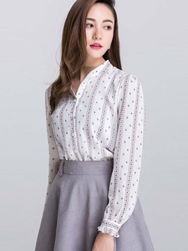 Ericdress Printed OL Long Sleeve Blouse