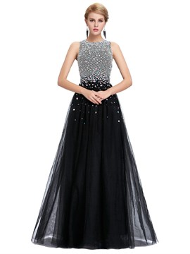 Ericdress A-Line Scoop Beading Backless Floor-Length Evening Dress