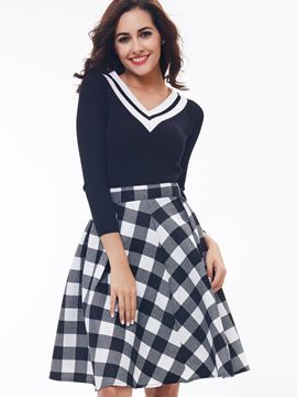 Ericdress Fashion A-Line Plaid Skirt Suit