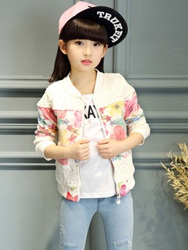 Ericdress Lace Hollow Patch Floral Printed Cardigan Girls Outerwear