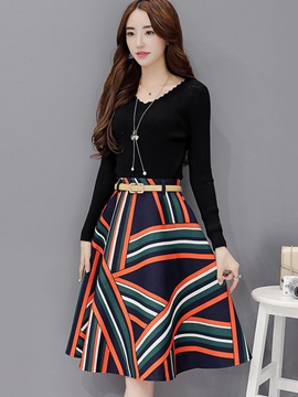 Ericdress Fashion Pattern Skirt Suit