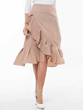 Ericdress Sweet Asymmetric Frill Skirt