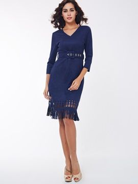 Ericdress Plain V-Neck Tassel Sheath Dress