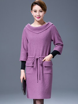 Ericdress Plain Lace-Up Three-Quarter Sleeve Straight Casual Dress