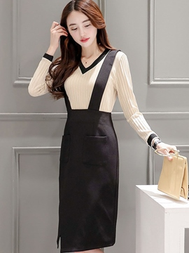 Ericdress Ladylike Suspender Dress Suit