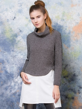 Ericdress Double-Layer Turtleneck Patchwork Casual Dress