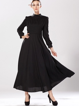 Ericdress Plain Stand Collar Expansion Maxi Dress