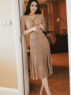 Ericdress V-Neck Expansion Knit Casual Dress