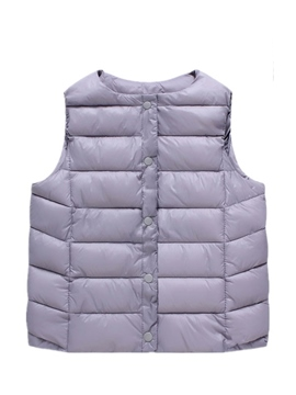 Ericdress Solid Color Vest Stud-Snap Girls Outerwear