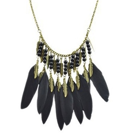 Ericdress Black Feather Tassels Necklace