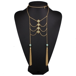 Ericdress Multilayer Turquoise Tassels Necklace