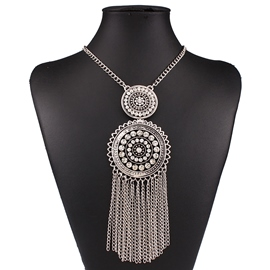 Ericdress Multilayer Tassels Diamante Necklace