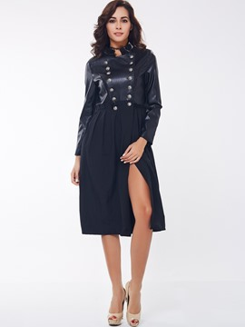 Ericdress Double-Breasted A Line Trench Coat