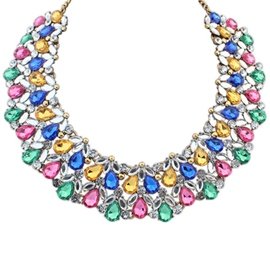Ericdress Fashion Colorful Gems Short Necklace